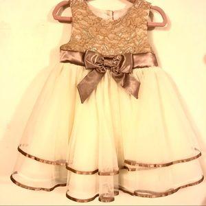 Rare Editions Champagne Lace Dress